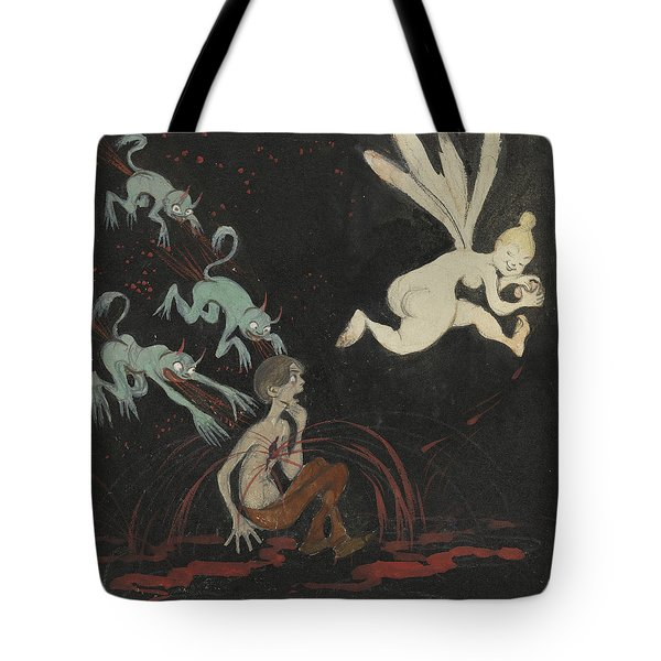 Tote Bag featuring the drawing The Broken Heart by Ivar Arosenius