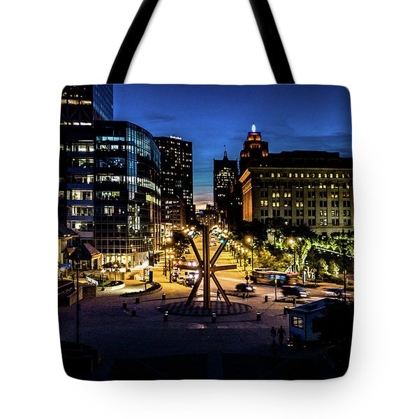 Tote Bag featuring the photograph The Calling At Blue Hour by Randy Scherkenbach