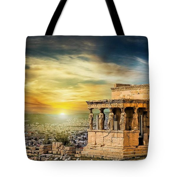 The Caryatids Of Acropolis In Athens, Greece Tote Bag