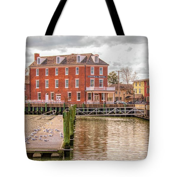 Tote Bag featuring the photograph The Central Hotel - Delaware City by Kristia Adams
