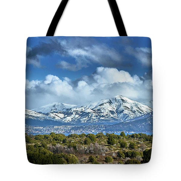 The City Of Bariloche And Landscape Of Snowy Mountains In The Argentine Patagonia Tote Bag
