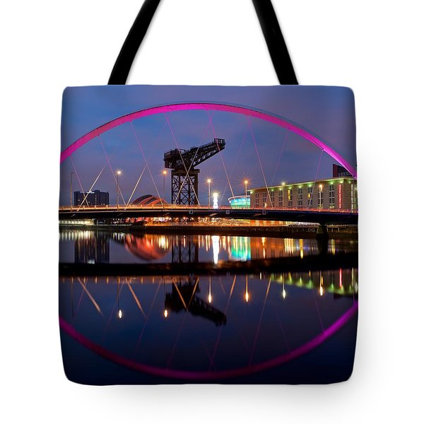 Tote Bag featuring the photograph The Clyde Arc Reflected by Stephen Taylor