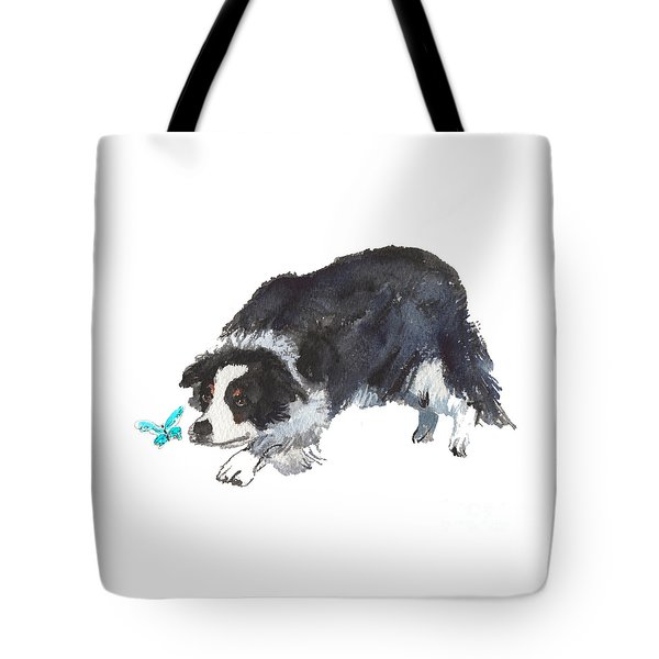 The Collie And Blue Butterfly Tote Bag