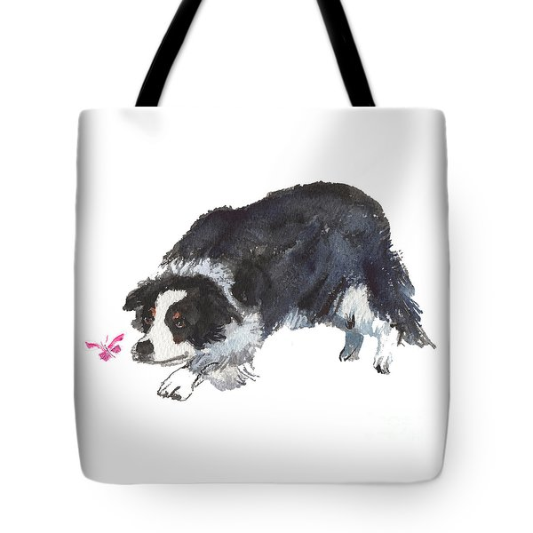 The Collie And Pink Butterfly Tote Bag