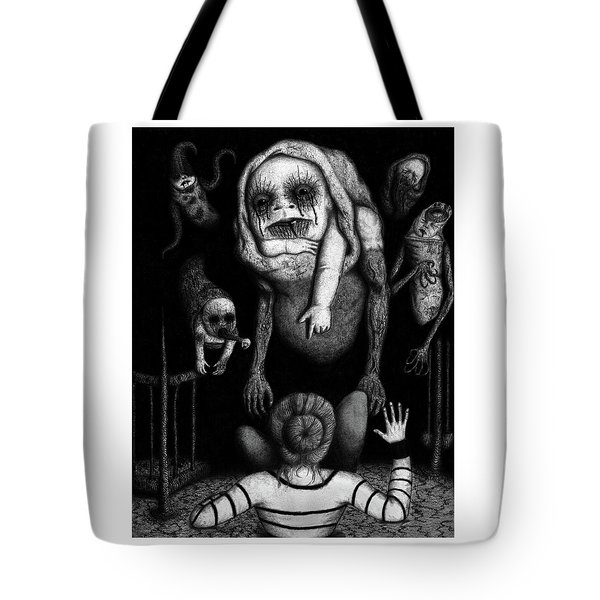 Tote Bag featuring the drawing The Corrupted - Artwork by Ryan Nieves