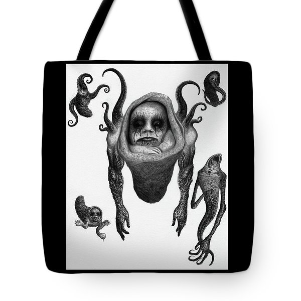 Tote Bag featuring the drawing The Corrupted Demon Profile - Artwork by Ryan Nieves
