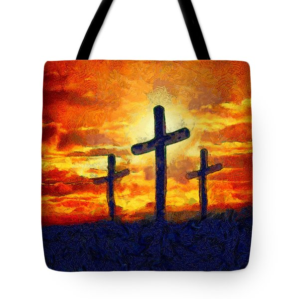 Tote Bag featuring the painting The Cross by Harry Warrick