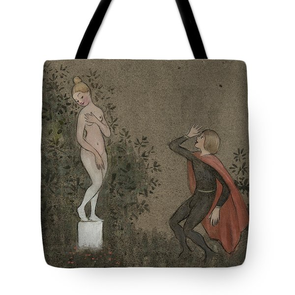Tote Bag featuring the drawing The Crying Psyche by Ivar Arosenius