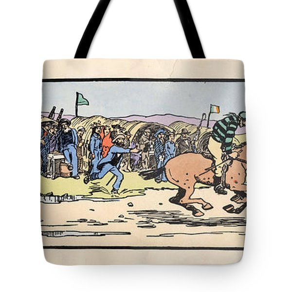 Tote Bag featuring the painting the Finishing post. Omey, by Val Byrne
