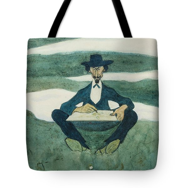Tote Bag featuring the drawing The First Flower Of Spring. Portrait Of Ole Kruse by Ivar Arosenius