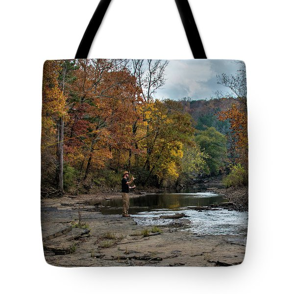 Tote Bag featuring the photograph The Flyfisherman by Joe Sparks