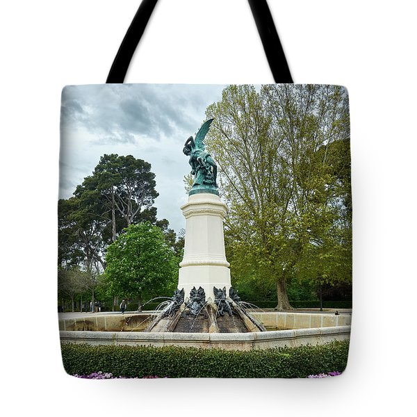 The Fountain Of The Fallen Angel In Madrid Tote Bag