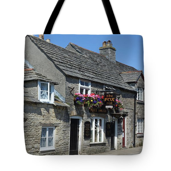 Tote Bag featuring the photograph The Fox Inn At Corfe Castle by David Birchall