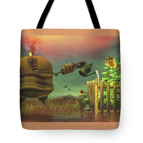 Tote Bag featuring the digital art The Gardener by Bob Orsillo