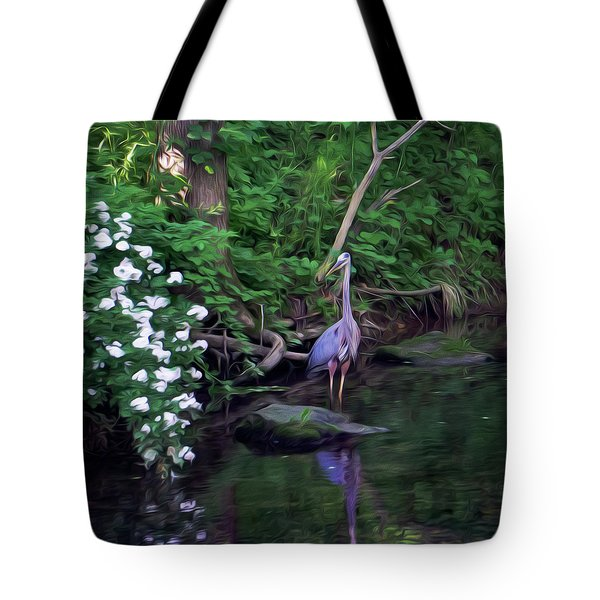 The Great Blue Heron - Impressionism Tote Bag