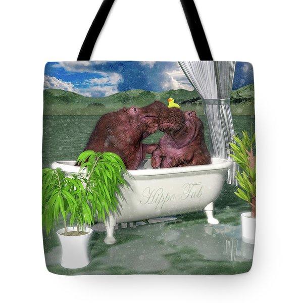 The Hippo Tub Tote Bag