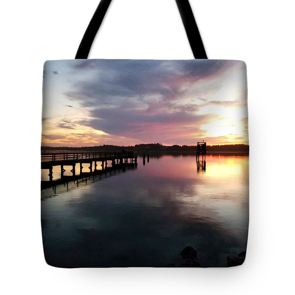 The Hollering Place Pier At Sunset Tote Bag