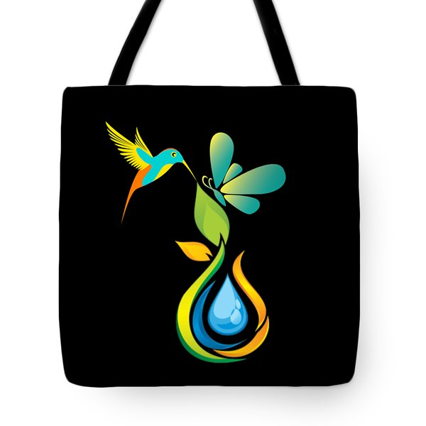 The Kissing Flower And The Butterfly On Flower Bud Tote Bag