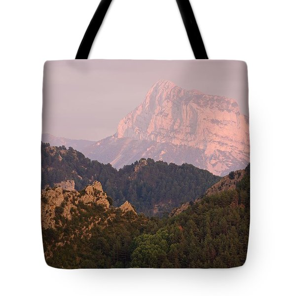 Tote Bag featuring the photograph The Last Of The Light At Pena Montanesa by Stephen Taylor