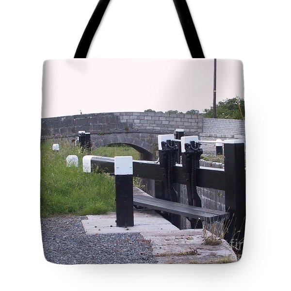 Tote Bag featuring the painting The Locks At Cloondara, Co. Longford by Val Byrne