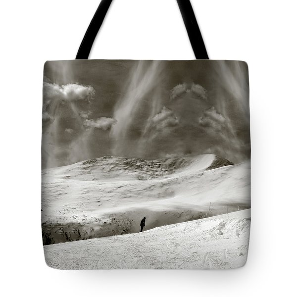 Tote Bag featuring the photograph The Lone Boarder - Duochrome by Wayne King