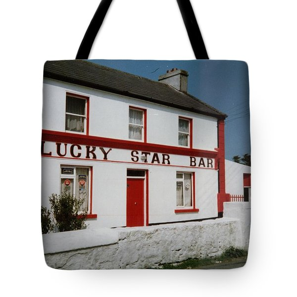 Tote Bag featuring the painting The Lucky Star Bar, Kilronan, Aran by Val Byrne