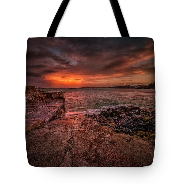 The Pier Sunset Tote Bag