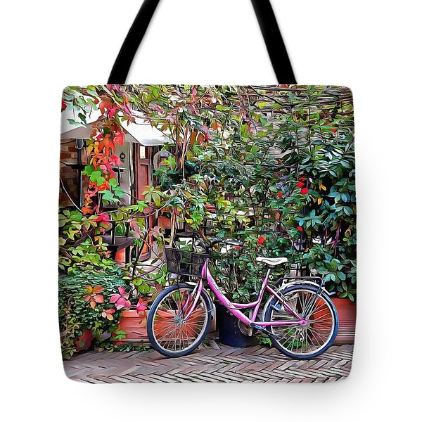 Tote Bag featuring the photograph The Pink Bicycle by Dorothy Berry-Lound