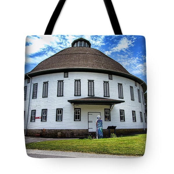 Tote Bag featuring the photograph The Round Barn by Photography by Laura Lee