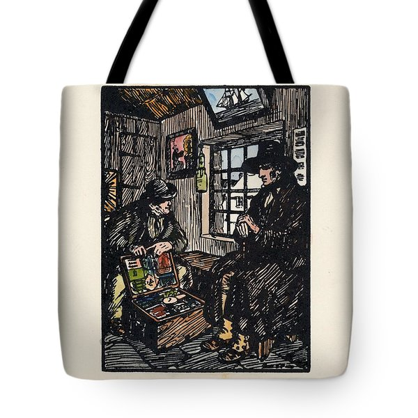 Tote Bag featuring the painting The Sales Man by Val Byrne