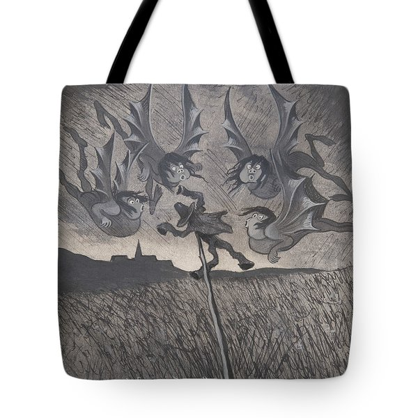 Tote Bag featuring the drawing The Scarecrow And The Four Winds by Ivar Arosenius