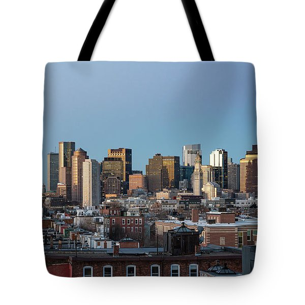 The Skyline Of Boston In Massachusetts, Usa On A Clear Winter Ev Tote Bag