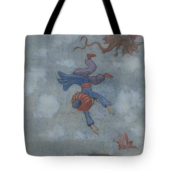 Tote Bag featuring the drawing The Story Of The Magician And The Wonderful Bird by Ivar Arosenius