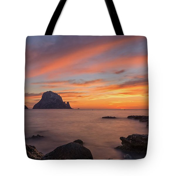 The Sunset On The Island Of Es Vedra, Ibiza Tote Bag