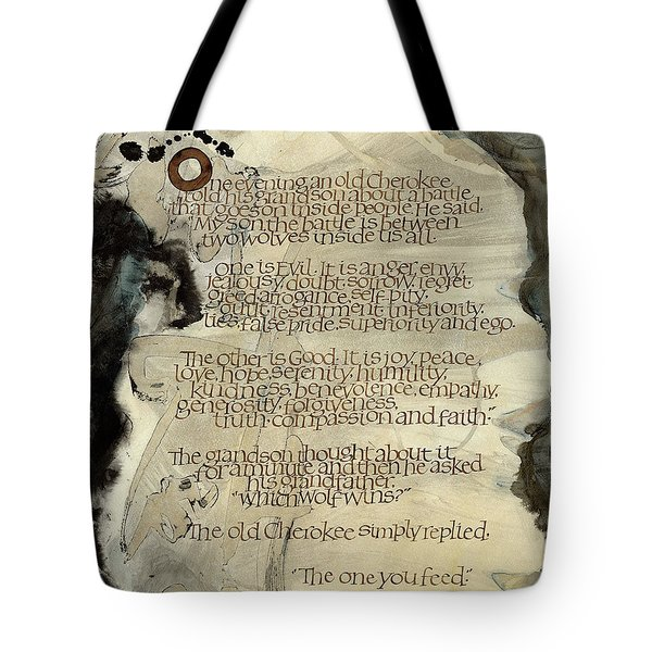 The Tale Of Two Wolves Tote Bag