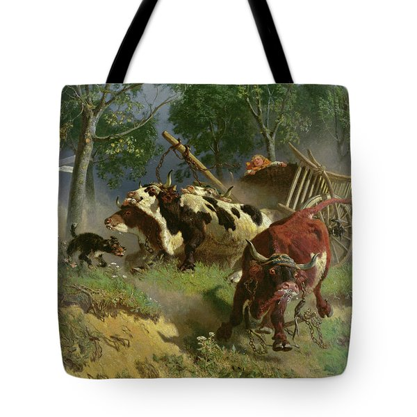 The Team Of Oxen Breaks Loose  Tote Bag