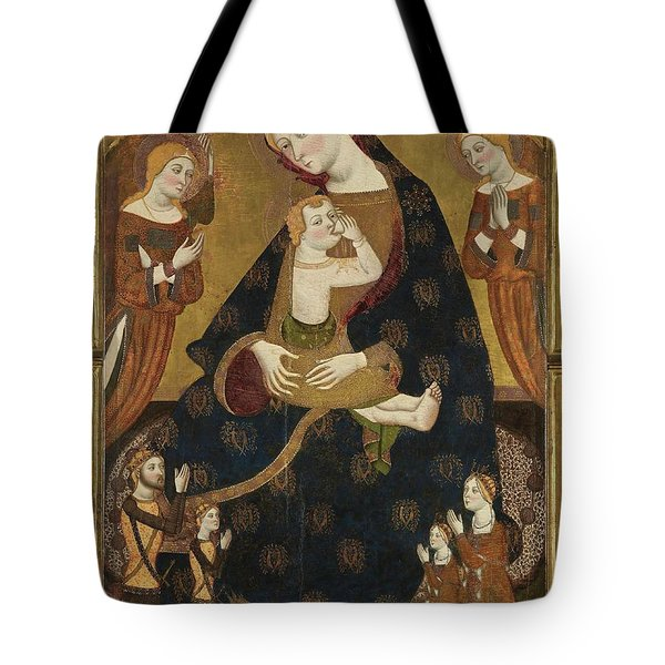 'the Virgin Of Tobed With The Donors Enrique II Of Castile, His Wife, Juana Manuel,... Tote Bag