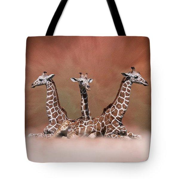 The Watchers - Three Giraffes Tote Bag