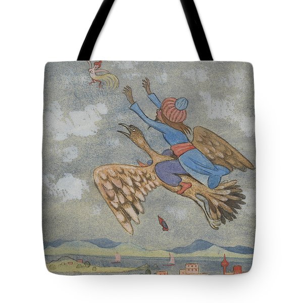 Tote Bag featuring the drawing The Wizard And The Female Bird by Ivar Arosenius