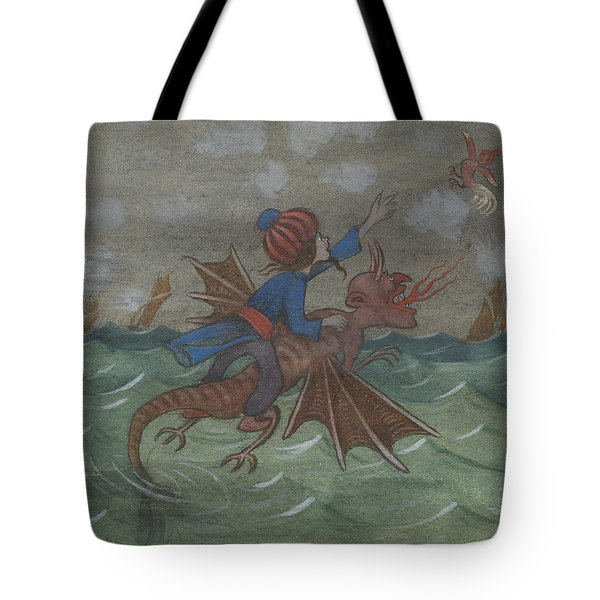 Tote Bag featuring the drawing The Wizard And Women's Bird by Ivar Arosenius