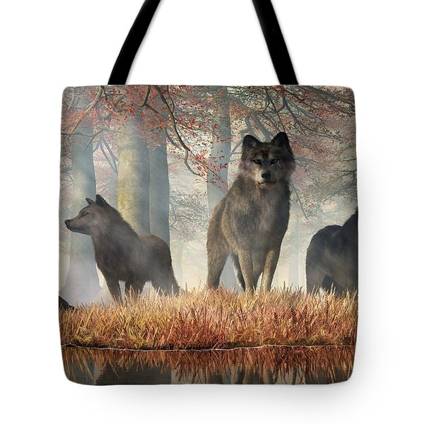 Tote Bag featuring the digital art The Wolves Of Autumn by Daniel Eskridge