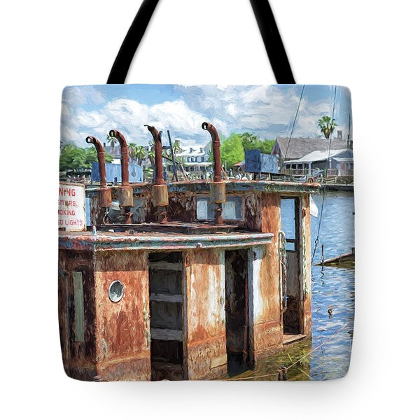 The Sunken Tugboat Fine Art Photography - Digital Painting By Mary Lou Chmura Tote Bag
