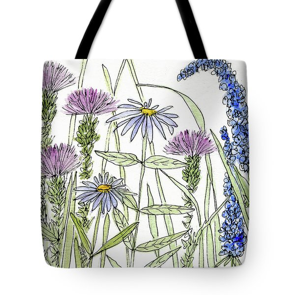 Thistle Asters Blue Flower Watercolor Wildflower Tote Bag