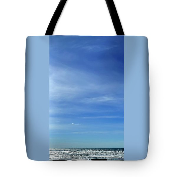 Tote Bag featuring the photograph Three Benches At The Coast by Jerry Sodorff