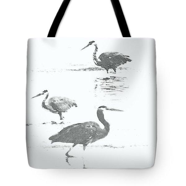 Three Blue Herons Tote Bag