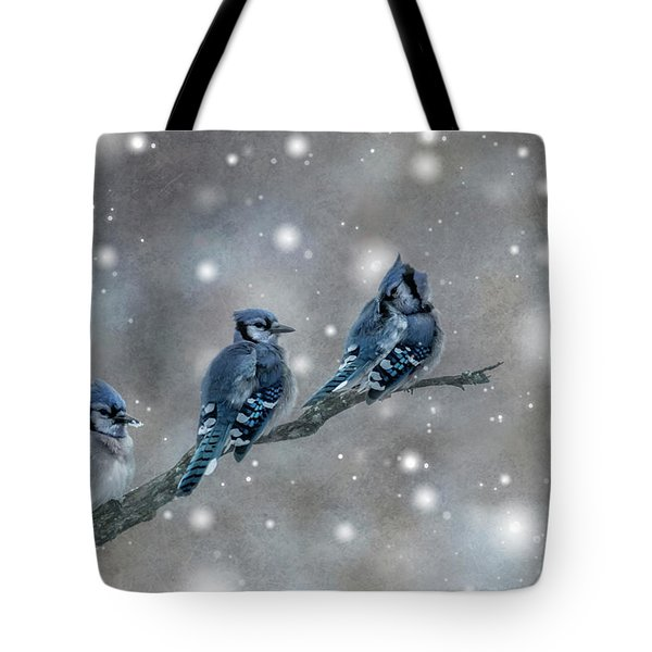Tote Bag featuring the photograph Three Blue Jays In The Snow by Patti Deters