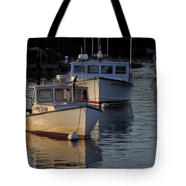 Three Boats In Maine Tote Bag