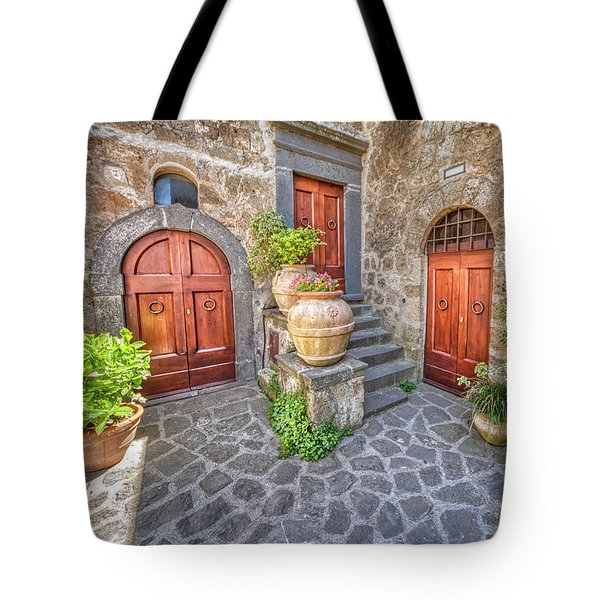 Tote Bag featuring the photograph Three Doors Of Tuscany by David Letts