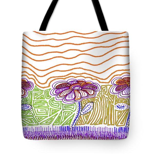 Three Flowers Orange And Purple Tote Bag