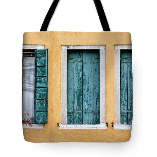 Tote Bag featuring the photograph Three Green Windows Of Venice by David Letts